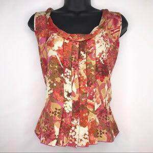 Sigrid Olsen 100% silk floral pleated blouse